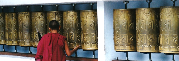 Tibetan Buddhist monk prayer wheel